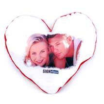 Szublimációs plüss szív párna 28x28 cm - piros
