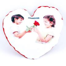 Szublimációs plüss szív párna 38x38 cm - bordó