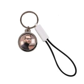 Szublimációs kulcstartó USB-C kábellel és sörnyitóval fekete PVC