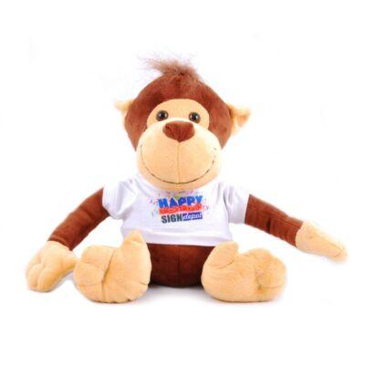 Szublimációs plüss majom fehér pólóban