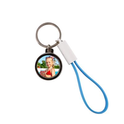 Szublimációs kulcstartó USB-C kábellel és sörnyitóval kék PVC