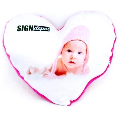 Szublimációs plüss szív párna 28x28 cm - pink
