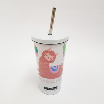 Szublimációs fém színjátszós pohár szívószállal